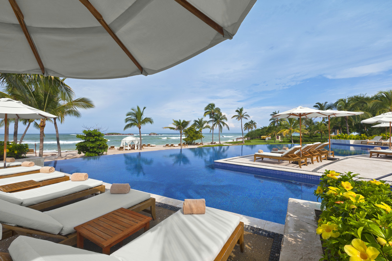 Poolside at the uber elegant St. Regis Hotel in Riviera Nayarit, Mexico