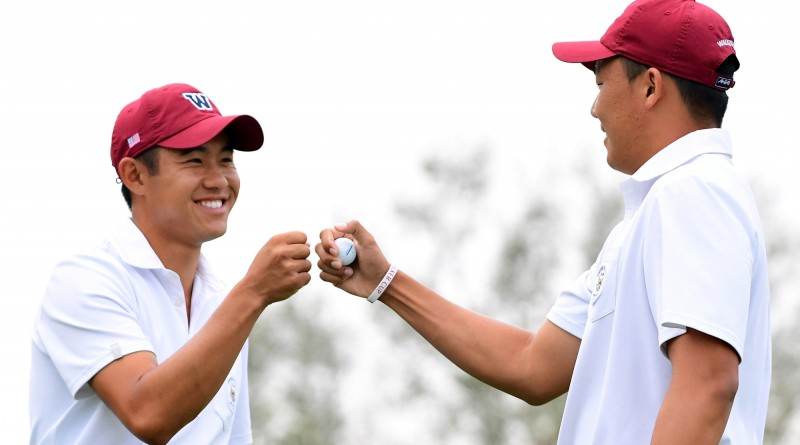 LOS ANGELES, CA - SEPTEMBER 09:  (L-R) Collin Morikawa and Norman Xiong of Team USA celebrate a win of the third hole over Harry Ellis and Alfie Plant of Team Great Britain and Ireland during the foursomes in the 2017 Walker Cup at the Los Angeles Country Club on September 9, 2017 in Los Angeles, California.  (Photo by Harry How/Getty Images)